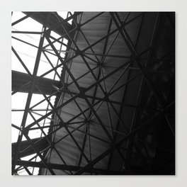 #144Photo #158 The #Strenght of #Structures / #Roof #Warehouse #Triangles #BlackAndWhite #Light Canvas Print
