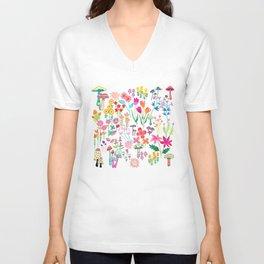 The Odd Floral Garden I Unisex V-Neck