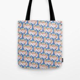 INFJ Trendy Rainbow Text Pattern (Blue) Tote Bag