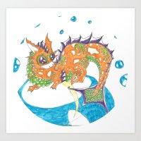 Chibi Baby Lung Koi Dragon Art Print