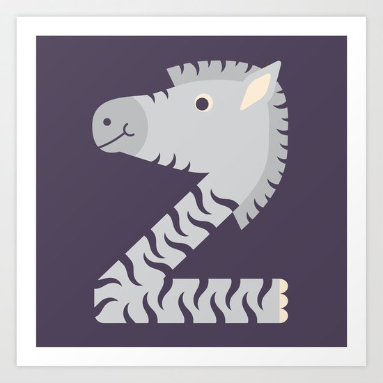 Letter Z // Animal Alphabet // Zebra Monogram Art Print