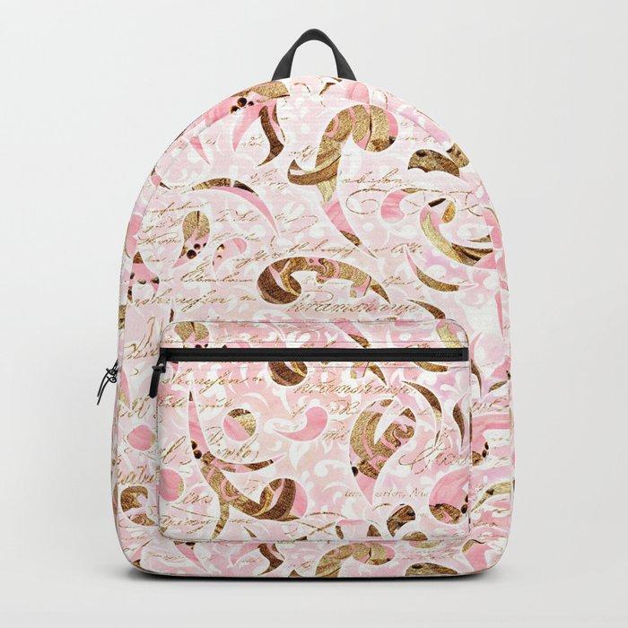 Pink Brown Swirls Backpack