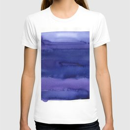 Blue Violet Watercolor Horizontal Stripes Abstract T-shirt