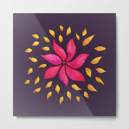 Whimsical Watercolor Flower In Pink And Purple Metal Print