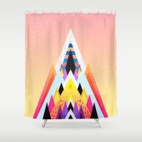 bubblegum Shower Curtains featuring Bubblegum Mountain by Elisabeth Fredriksson