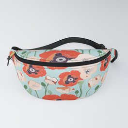 Poppies Blue Fanny Pack