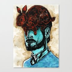 The Man With A Rabbit Hat Canvas Print