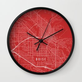 Boise Map, USA - Red Wall Clock