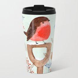 Robin in a Winter Garden Metal Travel Mug