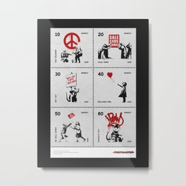 Banksy - Sheet of stamps dedicated to British street artist (Issue 20-014) Metal Print