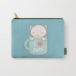 Kawaii Cute I Love Cats Carry-All Pouch