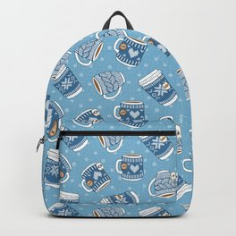 Cozy Blue Mugs Backpack