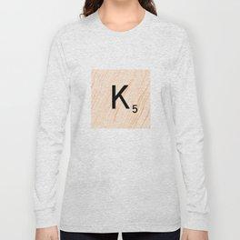 Scrabble Letter K - Large Scrabble Tiles Long Sleeve T-shirt