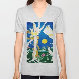 Nude surprised by Cockatoos                     by Kay Lipton Unisex V-Neck