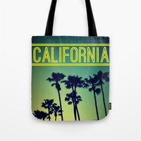california Tote Bags featuring CALIFORNIA by RichCaspian