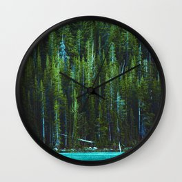 Evergreen Forest on Water (Color) Wall Clock