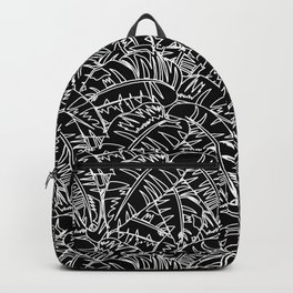 Tropic nature and palm tree in black and white Backpack