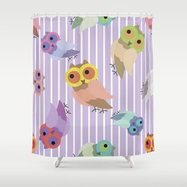 Owls on striped pattern Shower Curtain
