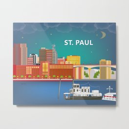 St. Paul, Minnesota - Skyline Illustration by Loose Petals Metal Print