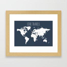 Love Travels World Map in Navy Blue Framed Art Print