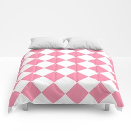 Large Diamonds - White and Flamingo Pink Comforters
