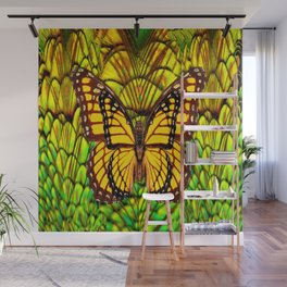 FANTASY YELLOW MONARCH BUTTERFLY LIME COLOR Wall Mural