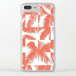 Palm Leaf Pattern Orange Clear iPhone Case