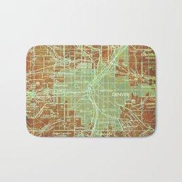 Denver Colorado map, year 1958, orange and green artwork Bath Mat