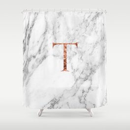 Monogram rose gold marble T Shower Curtain
