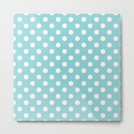 Turquoise Blue & White Polka Dots Metal Print
