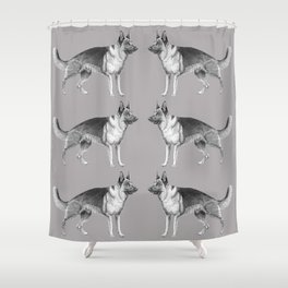 German shepherd - ink Shower Curtain