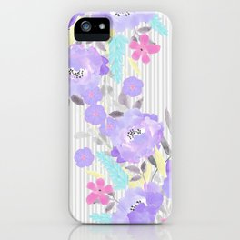 Watercolor violet pink gray stripes floral iPhone Case