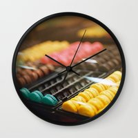 macarons Wall Clocks featuring Macarons by Laura L.