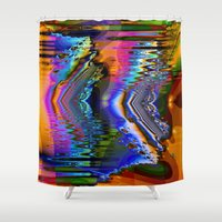 skiing Shower Curtains featuring Swiftly Skiing by Robin Curtiss
