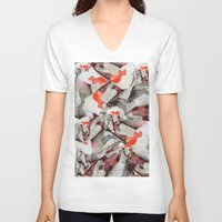 splatter V-neck T-shirts featuring SPLATTER PRINT by Cat Milchard