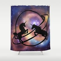 unicorns Shower Curtains featuring Space Unicorns by haroulita