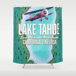 Lake Tahoe map Shower Curtain
