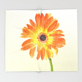 orange gerbera Throw Blanket