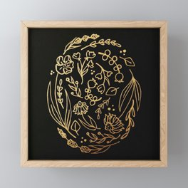 Golden Autumnal Equinox Oval Shaped Floral Illustration Framed Mini Art Print