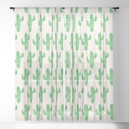 Linocut Cacti Green Sheer Curtain