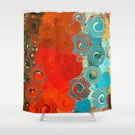 Turquoise and Red Swirls Shower Curtain