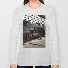 steam locomotive inside the train station Long Sleeve T-shirt