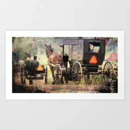 Two Amish Buggies Art Print