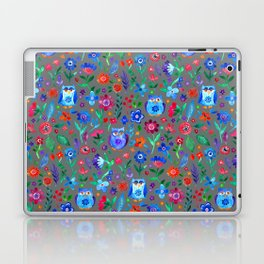 Little Owls and Flowers on Grey Laptop & iPad Skin