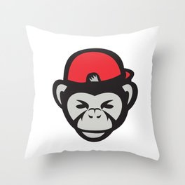 Chimpanzee Head Baseball Cap Retro Throw Pillow