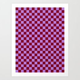 Lavender Violet and Burgundy Red Checkerboard Art Print