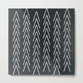 Mudcloth White Geometric Shapes in Black-ARROWS 4 Metal Print