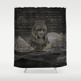 Cleopatra on Egyptian pyramids landscape Shower Curtain