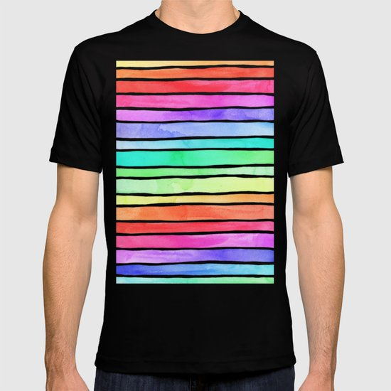 Bright rainbow colored watercolor paint stripes t shirt by for Neon coloured t shirts