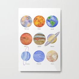 Solar System Planets Watercolor Metal Print